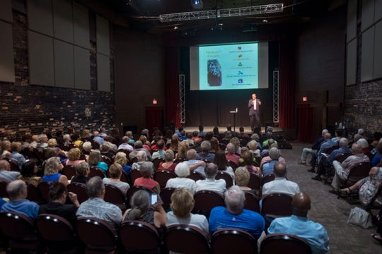 Harvard adjunct lecturer Ronald Ferguson speaks in August during CivicCon at the REX Theatre in downtown Pensacola.