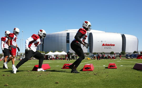 Arizona Cardinals linebacker Chandler Jones (55) during a drill at training camp on Aug. 13, 2019 in Glendale, Ariz.
