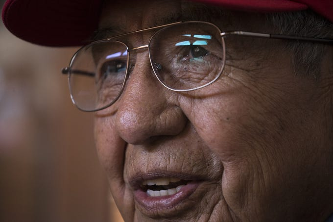 Navajo Code Talker Peter MacDonald Sr. talks about enlisting in the U.S. Marine Corps on July 10, 2019, at his home in Tuba City, Arizona.