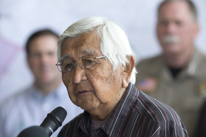 Chairman Ronnie Lupe of the White Mountain Apache Tribe speaks during a press conference June 17, 2016, at the Cedar Fire Incident Command Center at Show Low High School, 1201 N. Cougar Lane, Show Low, Arizona.