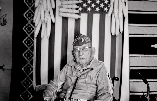 A portrait of Navajo Code Talker Joe Vandever Sr. on July 12, 2019, in his family's hogan in Haystack, New Mexico.