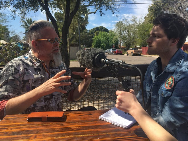 Historian Marshall Shore, left, talks with The Arizona Republic reporter Garrett Mitchell for an episode of Valley 101 podcast.
