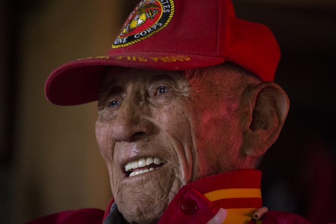 A portrait of Navajo Code Talker John Kinsel Sr. on July 11, 2019, at his home in Lukachukai, Arizona.