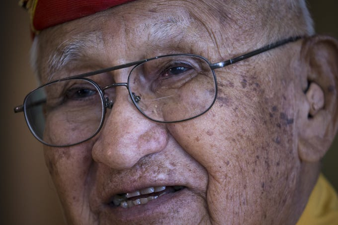 Navajo Code Talker Thomas H. Begay talks about his time in the U.S. Marine Corps on July 13, 2019 in Albuquerque, New Mexico.