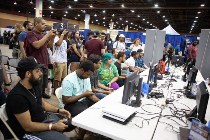 Console game tournaments were packed at Game On Expo at the Phoenix Convention Center, Aug. 11, 2019.