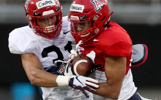 Arizona receiver Thomas Marcus Jr., right, is no longer on the Wildcats' roster.