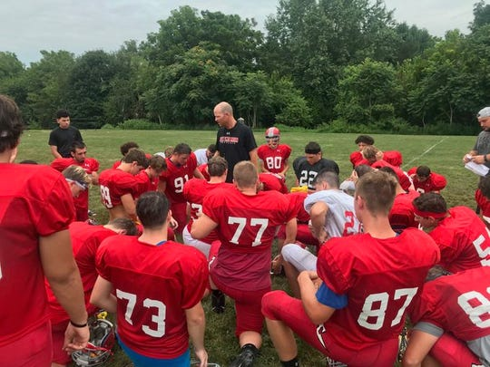 Annville-Cleona coach Matt Gingrich talks to his team after a recent practice.