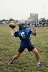Cedar Crest quarterback Chris Danz fires a pass during a recent practice.