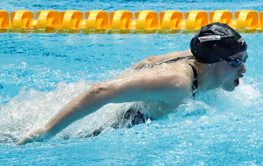 Spring Grove High School graduate Hali Flickinger swims in the women's 200-meter butterfly final at the World Swimming Championships in Gwangju, South Korea, Thursday, July 25, 2019. Flickinger finished second in the event. (AP Photo/Lee Jin-man)