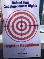 The York County Republican Party passed out this flyer at the 2019 Hanover Dutch Days event.