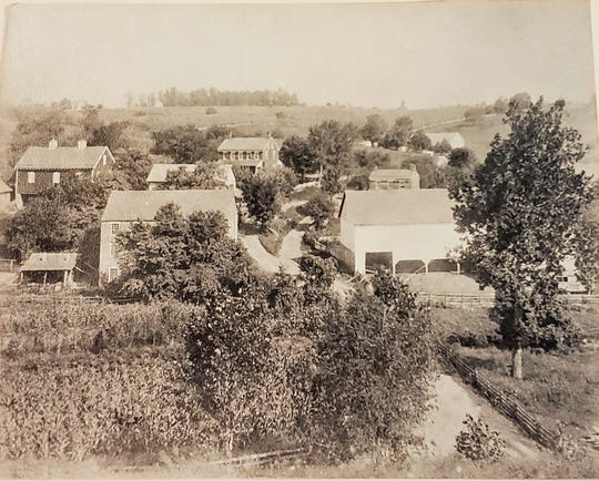 The York County village of Draco around 1880. The woolen mill is probably the closest building on the left.