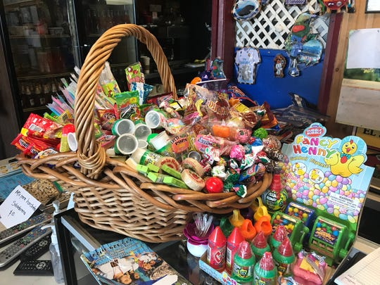 Q wicker basket of candies tempts at the register at El Salvador restaurant in Midtown Reno, closing Aug. 19, 2019, after 20 years.
