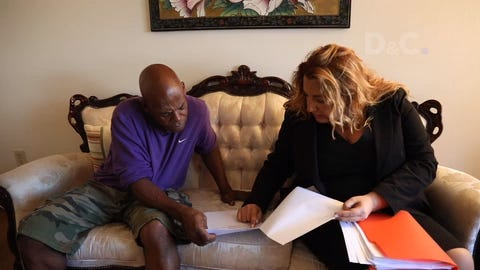 Gregory Wilson (left), shown with his lawyer Samantha Breakstone, filed a suit under the NY Child Victims Act on Aug. 14 over alleged abuse at the former Convalescent Hospital for Children in Rochester, NY.