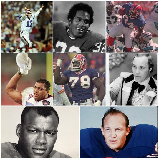 Buffalo BIlls greats, from top left, Jim Kelly, O.J. Simpson, Thurman Thomas, Darryl Talley, Bruce Smith, Joe DeLamielleure, Cookie Gilchrist and Billy Shaw.