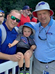 Andrew Soules, a Churchville-Chili graduate who now lives in Greenville, S.C., introduced his son, Tasker, to the Bills legend he is named after, Steve Tasker, during practice at Wofford College Tuesday.