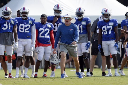 Buffalo Bills coach Sean McDermott barks instructions during an NFL football training camp with the Carolina Panthers in Spartanburg, S.C., Tuesday.