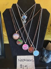 Studio Sixteen in the Chicken Farm Art Center, 2505 Martin Luther King Drive. will offer classes on painting, jewelry and various art mediums. These necklaces were made by Megan Shaw, co-owner of Studio Sixteen with Katie Karcher.
