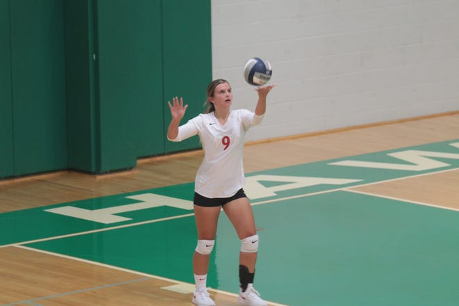 Miles High School's Halle Hudson serves during a volleyball match Tuesday, Aug. 13, 2019 at Wall High School.