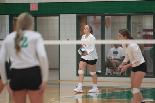 Miles High School's Regan Smithwick prepares to serve during a volleyball match Tuesday, Aug. 13, 2019 at Wall High School.