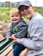 I pose for a photo with my nephew Lucas Bender at Falls Park. The three visited me shortly before my birthday and we enjoyed a day spent in downtown Sioux Falls.