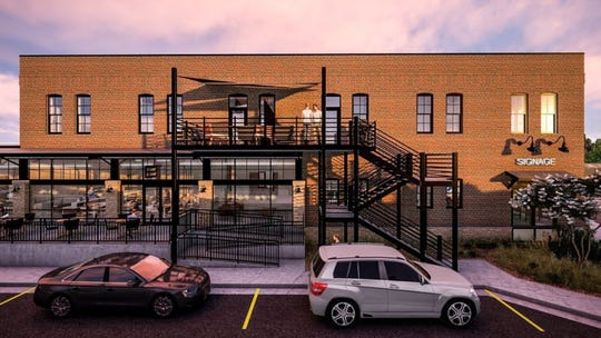 A rendering shows the East Bank Depot mixed-use development planned for the old freight house building at 424 E. Eighth St. in downtown Sioux Falls.