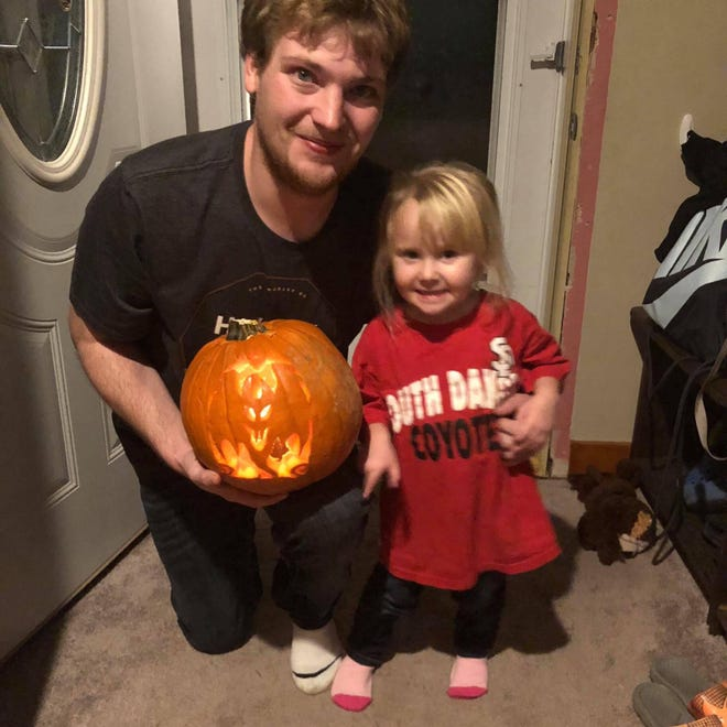 Zach Barta, 25, died at Avera Hospital in Sioux Falls on Wednesday. Friends and family, including his 3-year-old daughter Zoey, remembered him at a funeral service on Monday.