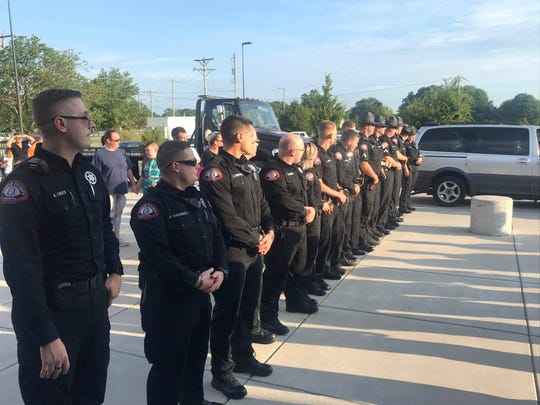Deputies with the Greene County Sheriff's Office lined up to support Lydia Roberts on her first day at Fremont Elementary.