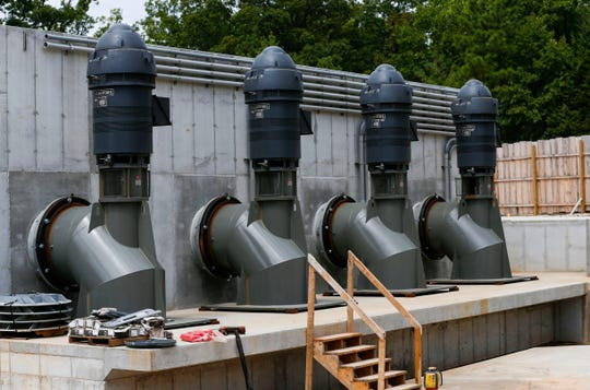 The water pumps for Silver Dollar City newest attraction Mystic River Falls on Tuesday, Aug. 13, 2019. The new ride replaces Lost River and has an 82-foot lift tower and a 4.5 story drop at the end.