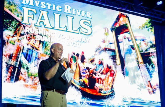 Silver Dollar City Attractions President Brad Thomas announces the theme parks new attraction, Mystic River Falls on Tuesday, Aug. 13, 2019. The new ride replaces Lost River and has an 82-foot lift tower and a 4.5 story drop at the end.