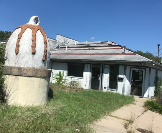 What appears to be a large ice cream cone is behind the Dairy Queen at 1411 W. Kearney St.
