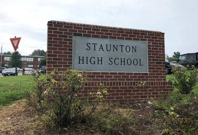 The new sign in front of the school indicates the name change to Staunton High School.