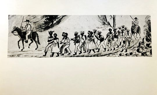 "The painting of a coffle of slaves being marched from Staunton, Virginia west into Tennessee, circa 1850. The painting was first found in Lewis Miller's ""Sketchbook of Landscapes in the State of Virginia, 1853-1867."" Courtesy of Abby Aldrich Rockefeller Folk Art Museum, Colonial Williamsburg Foundation, Williamsburg, Virginia."