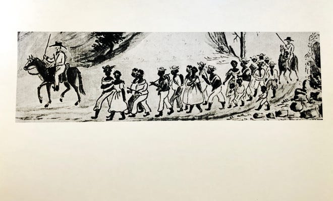 """The painting of a coffle of slaves being marched from Staunton, Virginia west into Tennessee, circa 1850. The painting was first found in Lewis Miller's """"Sketchbook of Landscapes in the State of Virginia, 1853-1867."""" Courtesy of Abby Aldrich Rockefeller Folk Art Museum, Colonial Williamsburg Foundation, Williamsburg, Virginia."""
