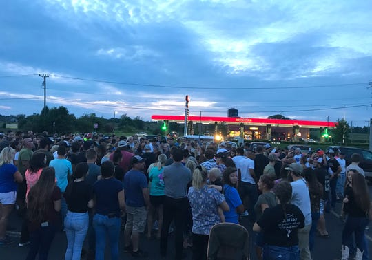 A large crowd gathered Monday night at the Broadmoor Plaza in Stuarts Draft for a vigil for Brayden Stiltner, who was killed the night before in a single-vehicle crash.