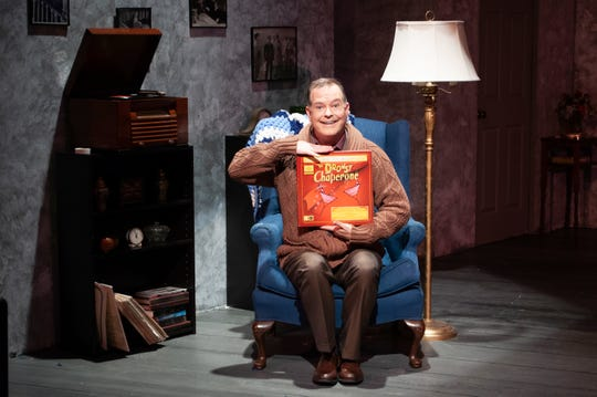 "The agoraphobic Man in the Chair (Robert A. Stuart) narrates the show-within-the-show in Theatre Tallahassee's production of ""The Drowsy Chaperone."""