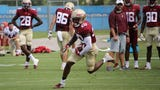 Video highlights from a weather shortened media viewing period of FSU football practice.