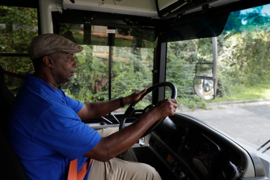 Leon County School Busses Lead Worker Greg Bruce drives a bus at the Conner-Lakes Leon County Schools Bus Compound Tuesday, August 13, 2019.