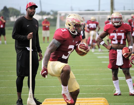 Running back Cam Akers at FSU football practice at IMG Academy on Aug. 13, 2019.