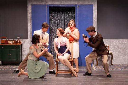 "Broadway star Janet Van de Graaf (Erin Williams) is hounded by reporters Joelie Campana, Griffin Stanley, Courtney Fitzgerald, and Ben Miller in Theatre Tallahassee's production of ""The Drowsy Chaperone."""