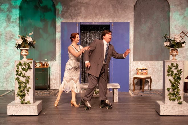 """Follies star Janet Van de Graaf (Erin Williams) takes tycoon Robert Martin (Dan Hall) roller skating in Theatre Tallahassee's production of """"The Drowsy Chaperone."""""""