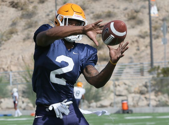 UTEP junior transfer wide receiver Devaughn Cooper runs drills during Tuesday's practice at Glory Road Field.