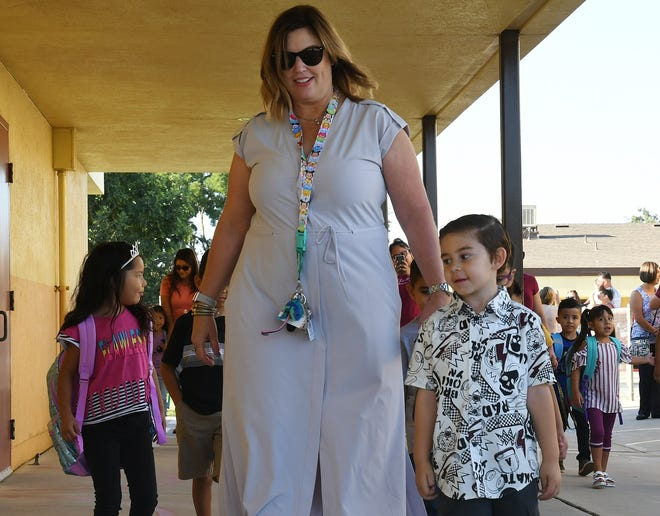 Tulare City School District welcomed more than 10,000 students back to 15 campuses on Tuesday, Aug. 13, 2019.  Cypress Elementary School saw hundreds of eager Scorpions scuttle to campus to meet teachers, play a round of tetherball and celebrate their first day of school.