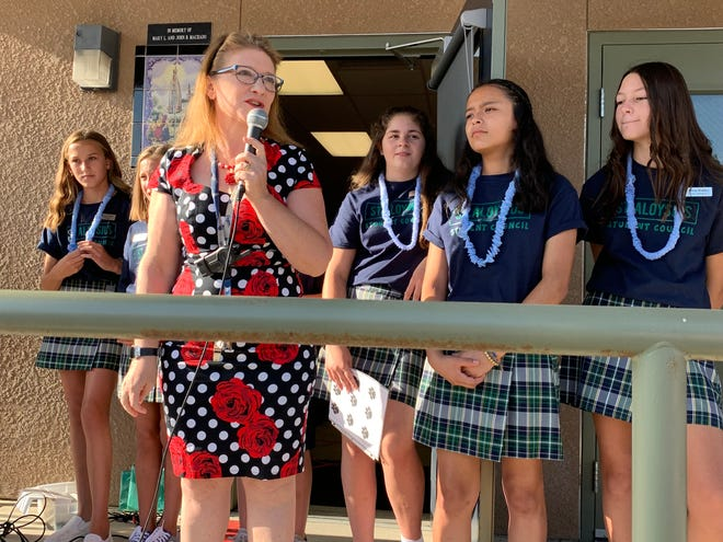 St. Aloysius students welcome their new principal, Holly Zamora, on Aug. 7. 2019.