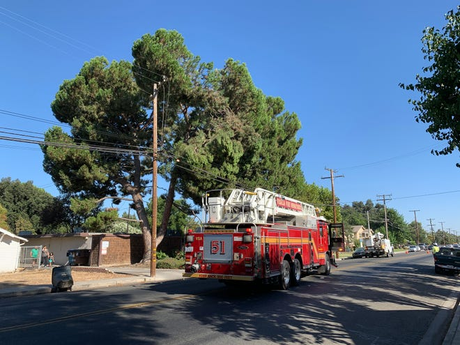 Branches downed a power line in Visalia, forcing 700 to go without power Tuesday morning.