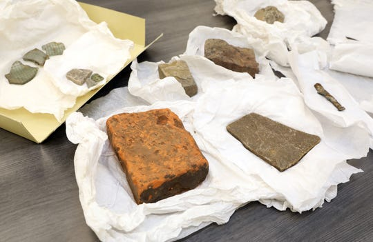 Bricks, stones and glass from the Warsaw Ghetto, which was donated by a Holocaust survivor, is seen at the Holocaust Museum and Center for Tolerance and Education, Aug. 13, 2019 at Rockland Community College in Suffern. Artifacts from a survivor, including bricks and glass from the Warsaw Ghetto, where he lived, and dishes and cutlery from Aushwitz, where he survived were donated to the museum.