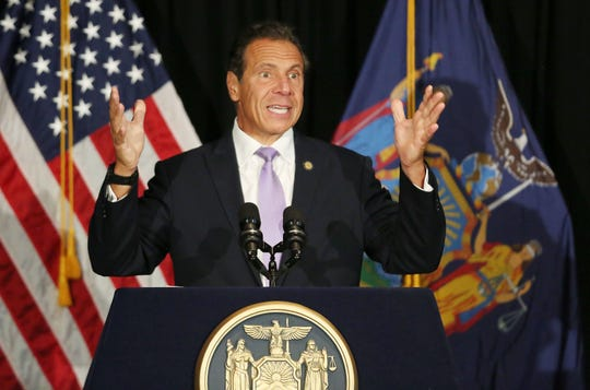 Gov. Andrew Cuomo announces that the city of Peekskill will be getting 10 million dollars for revitalizing the city's downtown while at the Hudson Room in Peekskill Aug. 13, 2019.