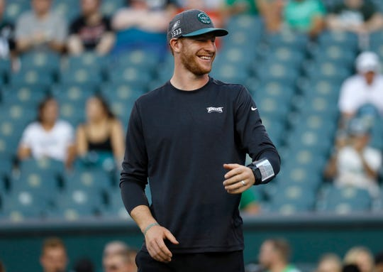Philadelphia Eagles' Carson Wentz is seen before a preseason game against the Tennessee Titans, Thursday, Aug. 8, in Philadelphia.