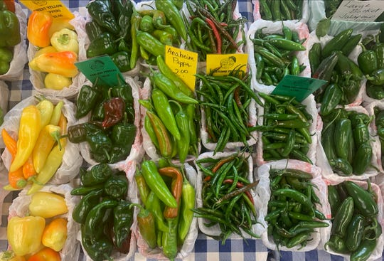 Fresh peppers come in a variety of flavors at the downtown Farmers Market including Sweet Yellow, Pablano, Anaheim, Cayenne, Serrano and Jalepeno peppers.