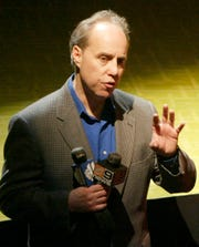 In this photo from Tuesday, April 13, 2004, Broadway producer Ben Sprecher speaks during a press conference in New York. Sprecher has been arrested on child pornography charges.