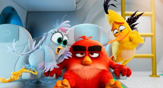 """Chuck's computer whiz sister Silver (Rachel Bloom), left, arrives in """"Angry Birds 2,"""" joining Red (Jason Sudeikis) and Chuck (Josh Gad) in a sequel critics are actually digging."""